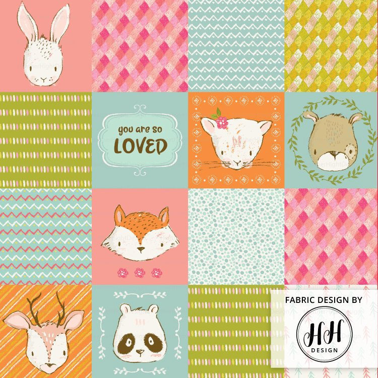 Woodland Animals Cheater Quilt Fabric