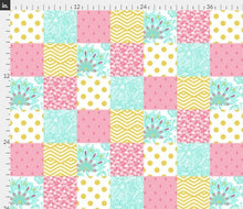 Load image into Gallery viewer, Gold Pink Floral Cheater Quilt Fabric