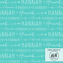 Load image into Gallery viewer, Hearts & Arrows Girls Personalized Name Fabric / Custom Name Fabric