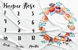 Milestone Personalized Fabric - Dusty Rose Watercolor Floral