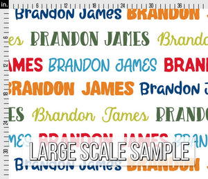 Colorful Boys Personalized Fabric / Custom Name Fabric