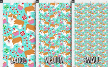 Load image into Gallery viewer, Christmas Corgi Fabric - Turquoise