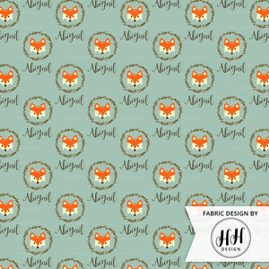 Woodland Fox Personalized Fabric / Custom Name Fabric