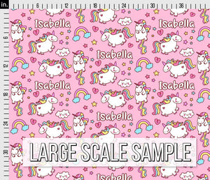 Girls Unicorn Personalized Fabric - Pink