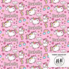 Load image into Gallery viewer, Girls Unicorn Personalized Fabric - Pink