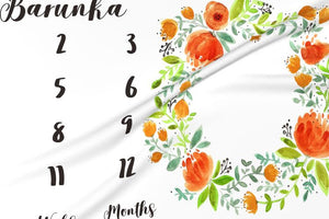 Girl Personalized Milestone Fabric - Beautiful Orange Watercolor Florals