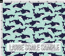 Load image into Gallery viewer, Killer Whale Fabric - Blue