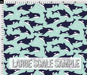 Killer Whale Fabric - Blue