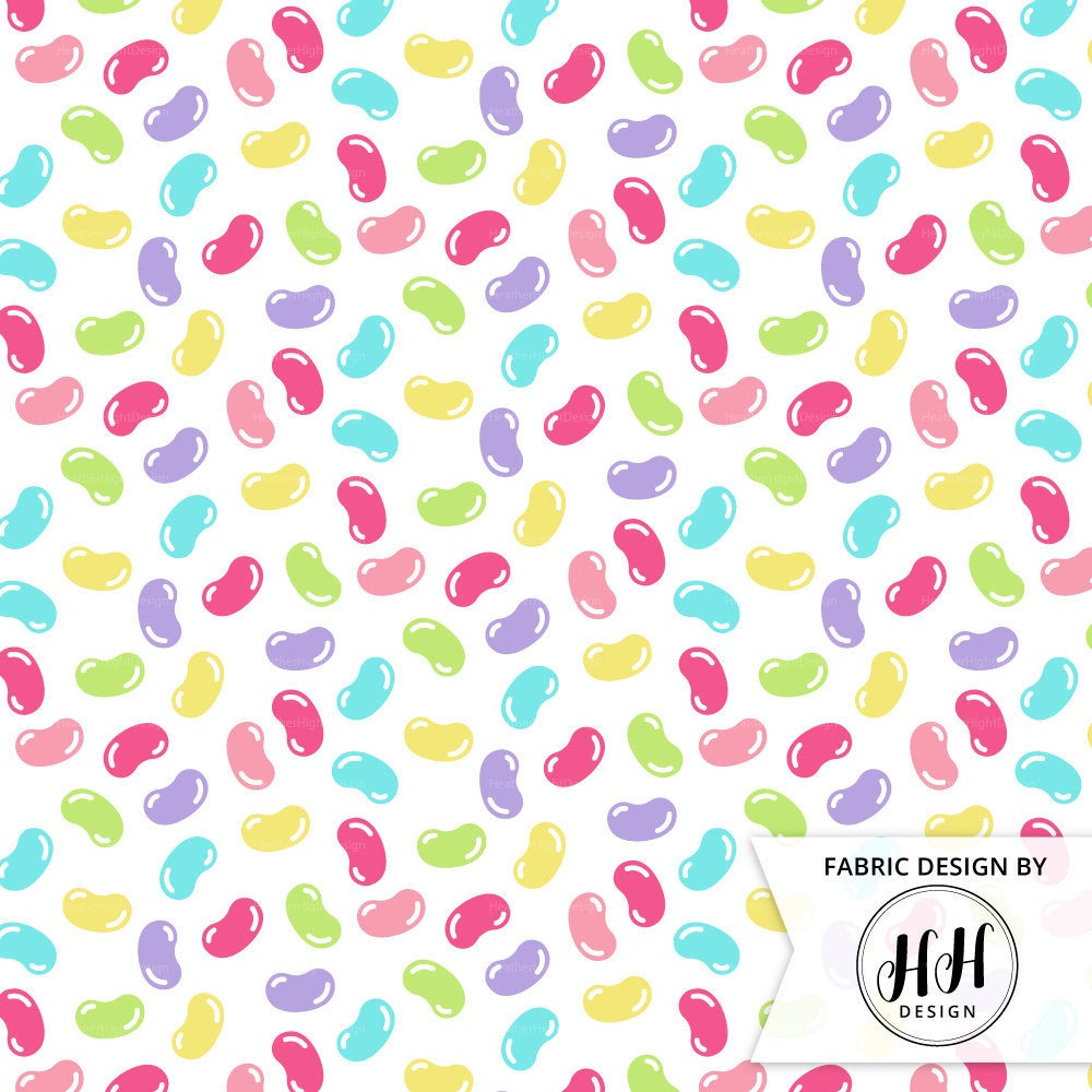 Jelly Bean Fabric - White