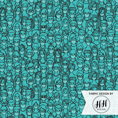 People in Masks Fabric - Blue