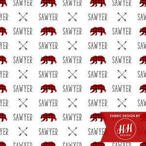 Woodland Bear Personalized Fabric / Custom Name Fabric