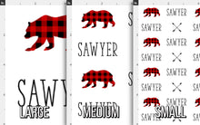 Load image into Gallery viewer, Woodland Bear Personalized Fabric / Custom Name Fabric