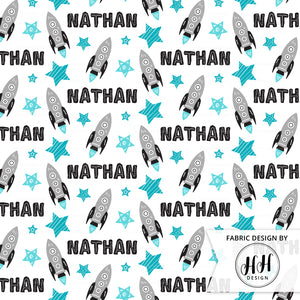 Boys Rocket Personalized Fabric - Blue