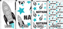 Load image into Gallery viewer, Boys Rocket Personalized Fabric - Blue