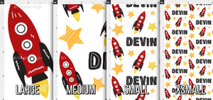 Boys Rocket Personalized Fabric - Red