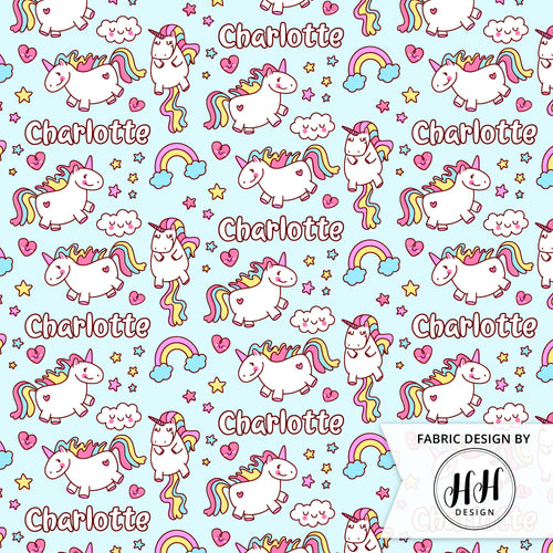 Unicorn Personalized Fabric - Blue