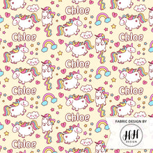 Load image into Gallery viewer, Unicorn Personalized Fabric - Yellow