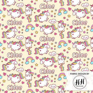 Unicorn Personalized Fabric - Yellow