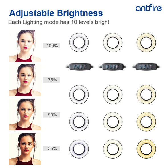 Antfire Selfie Ring Light - Cell Phone Holder Stand Including Selfie Remote Shutter for Live Stream,Makeup,LED Camera Light with Flexible Arms for Smart-Phone,Android,iPhone