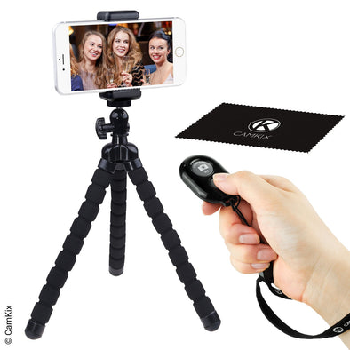 Flexible Cell Phone Tripod and Bluetooth Remote Control Camera Shutter - for iPhone, Samsung Galaxy and Many More - Octopus Style Mount - Universal Phone Holder - Solution for Smartphone Photography