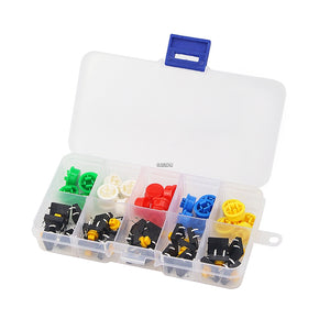 Tactile Switch 25pcs Tactile Push Button Switch 4 Pins SMD PCB Micro and Box for Arduino