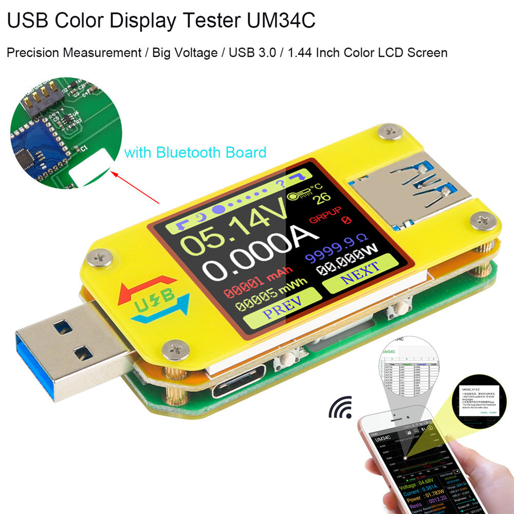 UM34C USB Meter Tester Voltage Current Bluetooth Battery Power Charger Voltmeter Ammeter Multimeter