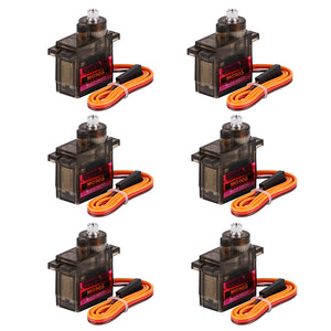 6Pcs MG90S Metal Geared Micro Servo Motor 9G for Smart Robot Car Helicopter Plane Boat