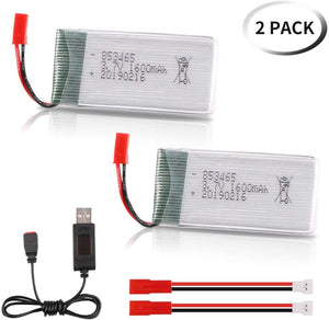 2 pcs 3.7V 1600mAh JST lithium polymer battery with USB charging for JJRC A6 A20 A20W A22 H68 X27C-2 XG183 69608