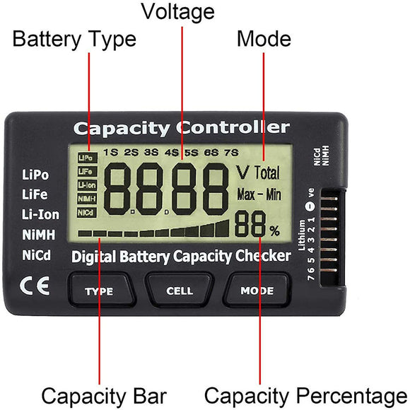 Digital Battery Capacity Tester, Battery Capacity Voltage Checker Controller Tester with LCD