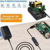 MakerFocus 5V 3A Type-C with Switch Button AC Adapter for Rasberry Pi 4 with Heat Sink Set