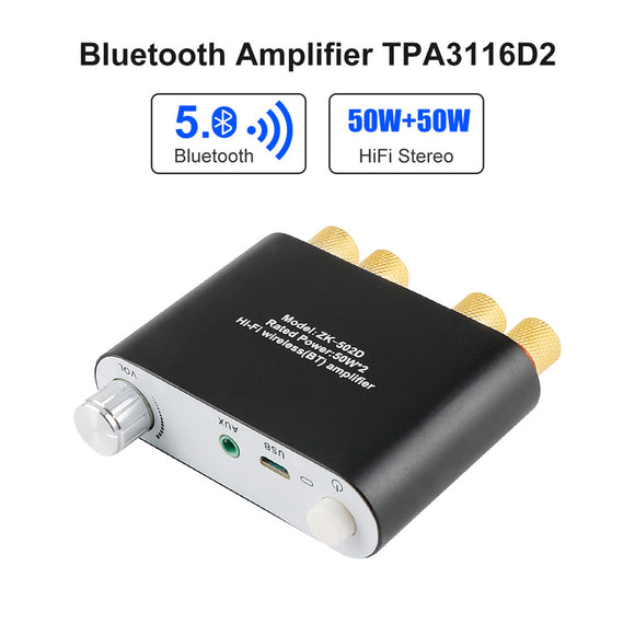 Bluetooth Amplifier Mini HiFi Stereo 2.0 TPA3116D2 2X50W Audio Amplifier Class D Digital Power
