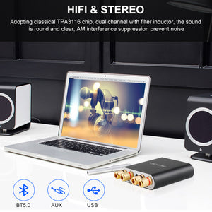 Bluetooth Amplifier 5.0 Mini Hifi Stereo 2.0 TPA3116D2 2X100W Audio AMP Class D Digital Power