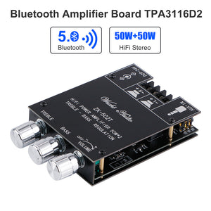 Bluetooth Amplifier Board 5.0 TPA3116D2 2X50W Hifi Stereo Audio Amplifier Digital Power Amp