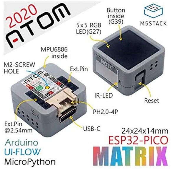 ESP32 Development Kit M5Stack Atom Matrix  PICO USB Type-C 4 MByte Flash with IMU Sensor