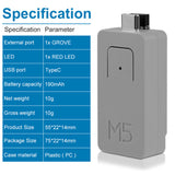 External Rechargeable Lithium Battery 190mAh Portable Power IP5303 Chip Atom TailBat for M5Stack