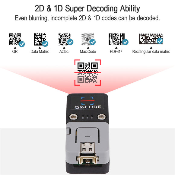 Barcode Scanner Kit Bluetooth QR Code USB 2D 1D Scanner Module  Support ESP32 WiFi for Arduino