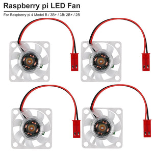 4pcs Raspberry Pi 4   LED Cooling Fan for Raspberry Pi 4 Model B  Raspberry Pi 3B+ 3B 2B+