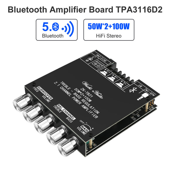 Hifi Stereo 2.1 TPA3116D2 2X50W+100W 12V-24V Audio Power Amplifier Module Bass
