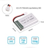 6pcs 1S 3.7V 750mAh Lipo Battery 30C with 6-in-1 Charger Molex Plug for Syma X5 X5A X5SW X5C X5C-1