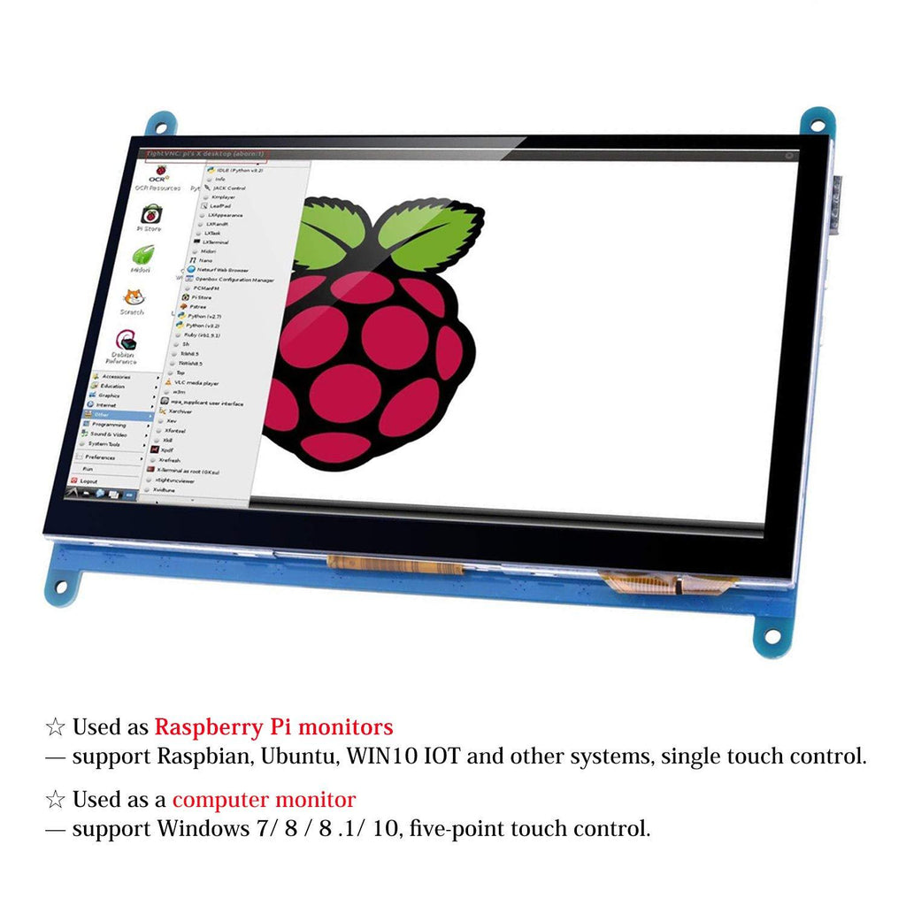 MakerFocus Raspberry Pi 7 Inch Capacitive Touch Screen TFT LCD Display for RPI 4B/3B+ Drive-free