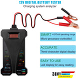 12V Digital Battery Tester Voltmeter Alternator Charging System Analyzer with LCD Display