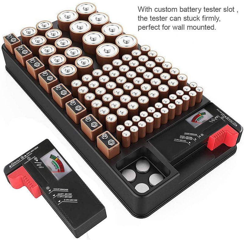 Battery Organizer Storage Case holds 110 Different Size Batteries Slot for AAA, AA, 9V, C, D