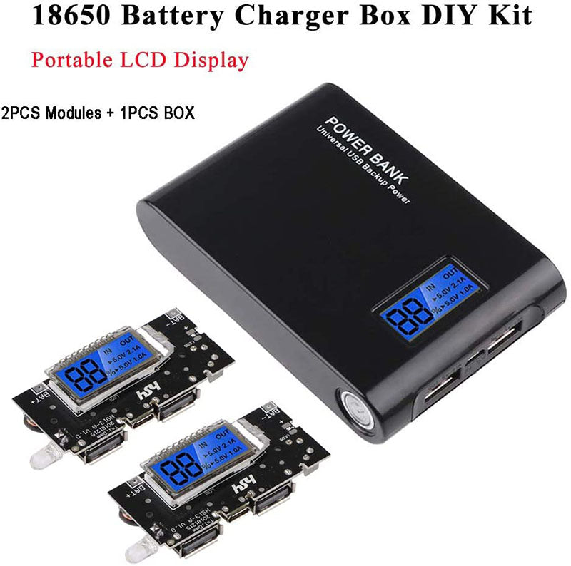 18650 Battery Charger Box DIY Kit Portable LCD Display Charger Board PCB Module Board