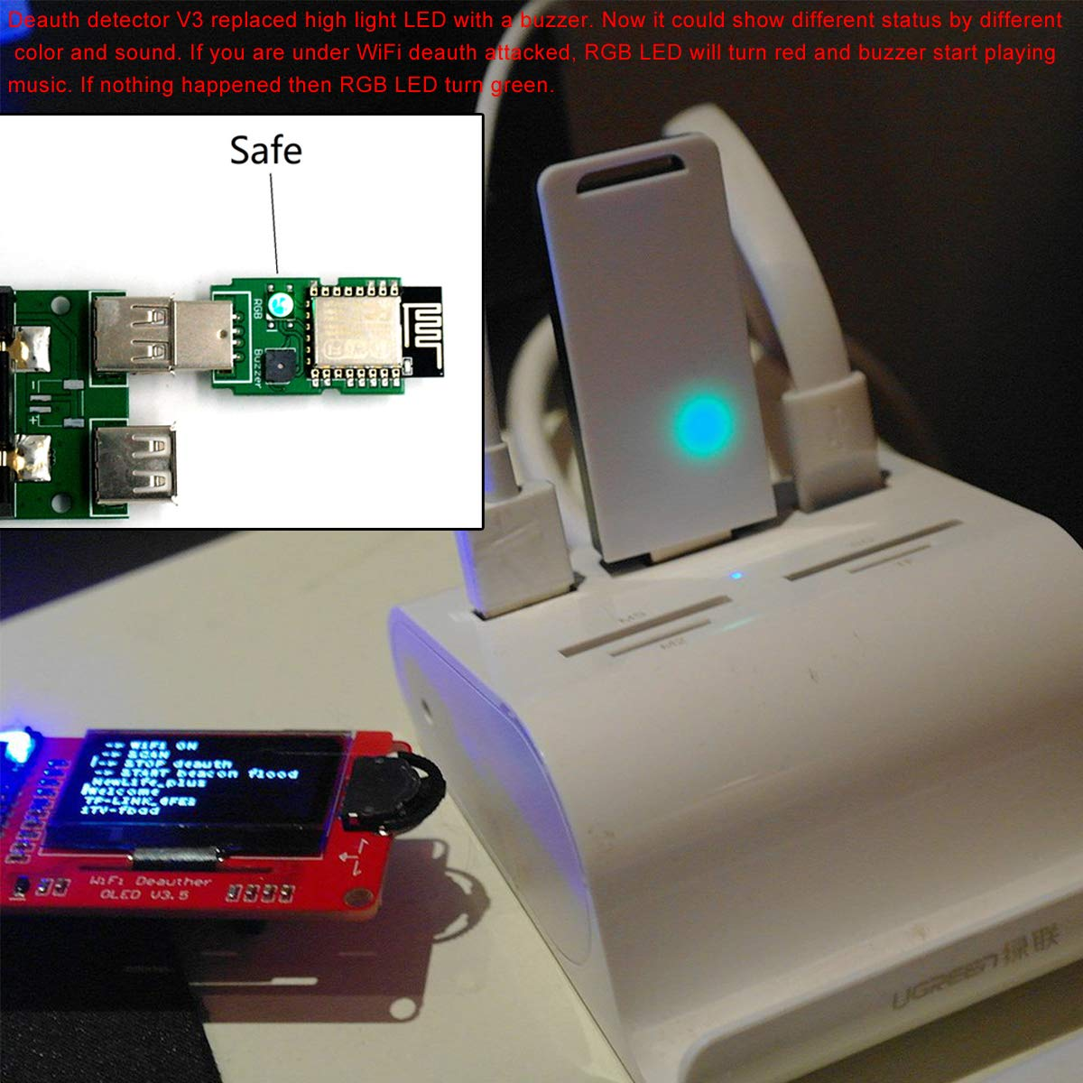 MakerFocus ESP8266 WiFi Deauth Detector V3 (Pre-flashed) with Buzzer RGB LED