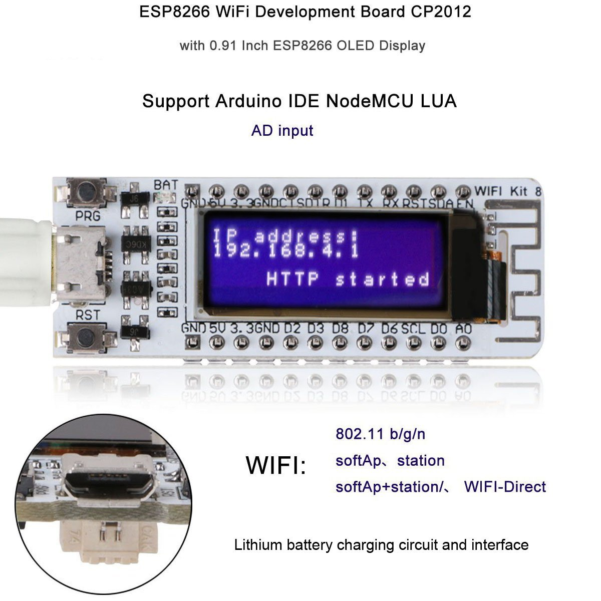 MakerFocus ESP8266 Wifi Development Board with 0.91 Inch OLED Display CP2102 Support Arduino IDE