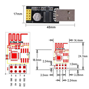 MakerFocus 2pcs ESP8266 ESP-01 Serial Wireless Transceiver WiFi Module with USB to ESP-01 Adapter