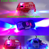 Track Cars, 3 Pack ( Racing Car, Police Car, Fire Truck Car ) with 5 LED Flashing Lights Magic Toys