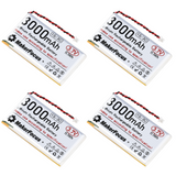 Makerfocus 3.7V 3000mAh Lithium Rechargeable Battery 1S 3C LiPo Battery (Pack of 4)