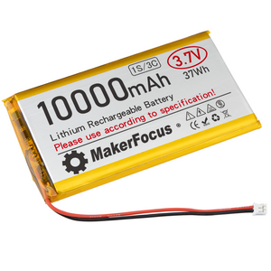 Makerfocus 3.7V Lipo Battery 10000mAh Lithium Rechargeable Battery 9065115 with Micro PH2.0 Plug for Raspberry Pi UPS Board