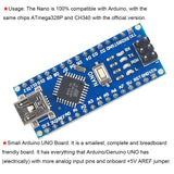 Makerfire 2pcs Nano V3.0 ATmega328P Microcontroller Board For Arduino with USB Cables